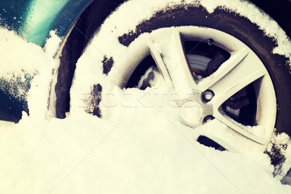 Voiture roue coincé neige transport Photo stock © dolgachov