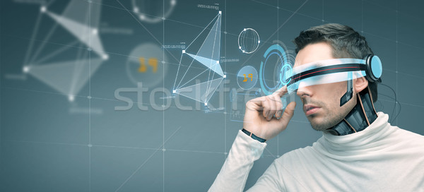 Férfi futurisztikus 3d szemüveg emberek technológia jövő Stock fotó © dolgachov