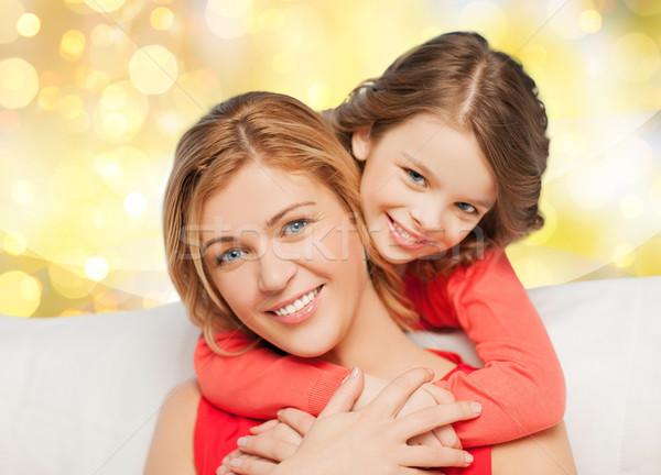 Glücklich Mutter Tochter Lichter Menschen Stock foto © dolgachov