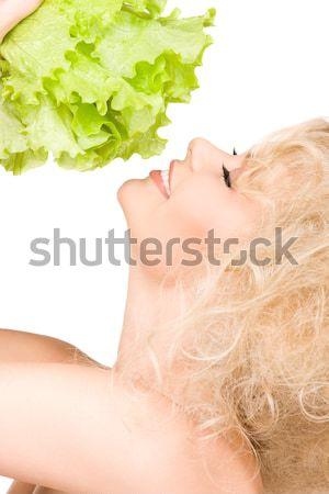 красивая женщина красные губы фотография женщину лице Сток-фото © dolgachov