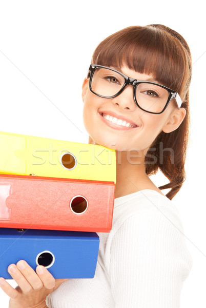 businesswoman with folders Stock photo © dolgachov