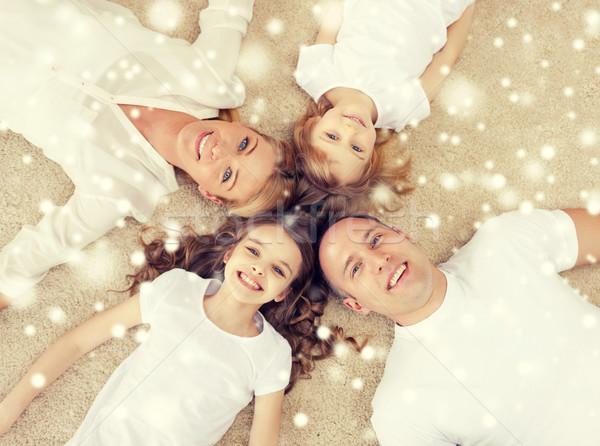 Stok fotoğraf: Ebeveyn · iki · kızlar · zemin · ev · aile