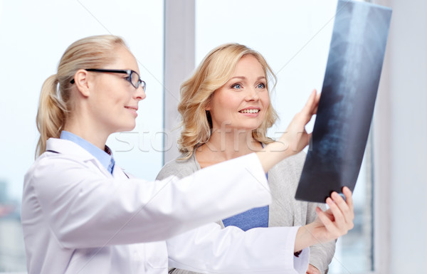 woman patient and doctor with spine x-ray scan Stock photo © dolgachov