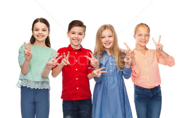 девочек мира рукой знак детство Сток-фото © dolgachov