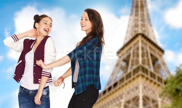 Stok fotoğraf: Mutlu · dans · Eyfel · Kulesi · insanlar · seyahat
