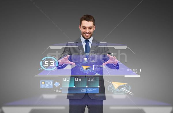 businessman working with virtual gps navigator map Stock photo © dolgachov