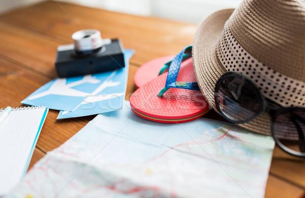 Viajar mapa seis bilhete férias de verão Foto stock © dolgachov