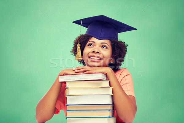 Feliz África soltero nina libros escuela Foto stock © dolgachov