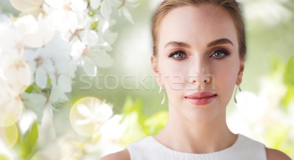 лице красивая женщина невеста белое платье красоту свадьба Сток-фото © dolgachov