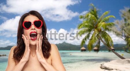 Sorridere occhiali da sole spiaggia turismo Foto d'archivio © dolgachov