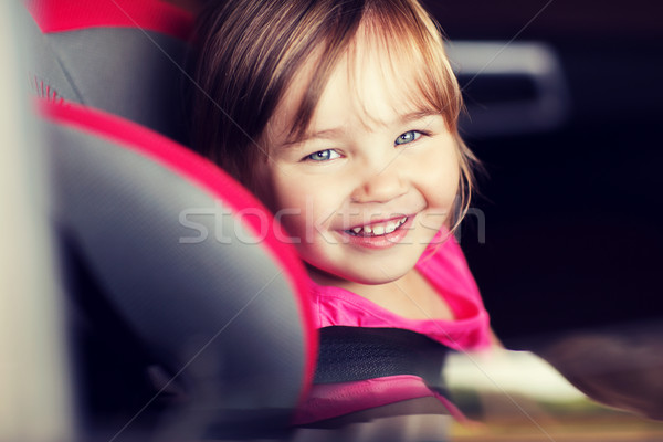 Stock fotó: Boldog · kislány · ül · baba · autó · ülés