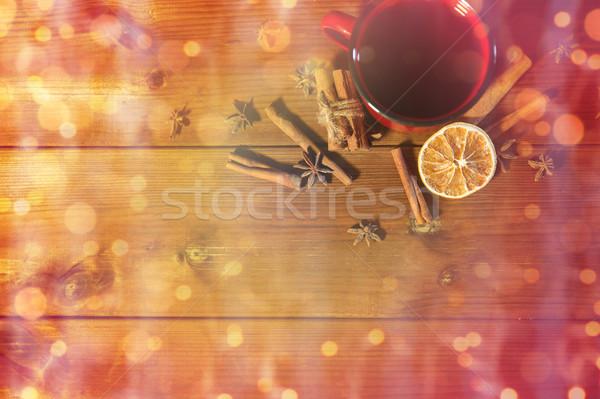 茶碗 冬 スパイス 木製のテーブル クリスマス 休日 ストックフォト © dolgachov