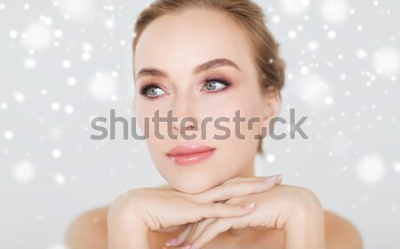 Belo mulher jovem cara mãos beleza Foto stock © dolgachov