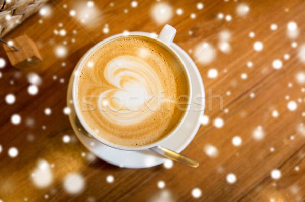 Közelkép kávéscsésze szív alak rajz művészet ital Stock fotó © dolgachov