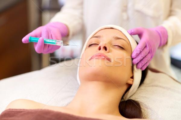 Belleza inyección mujer labios personas tecnología Foto stock © dolgachov