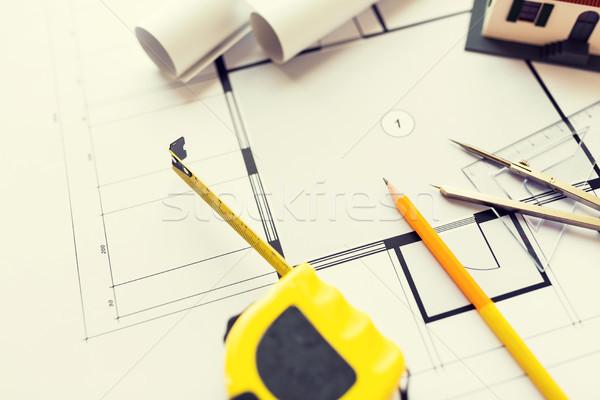 Bouwkundig blauwdruk tools architectuur gebouw Stockfoto © dolgachov