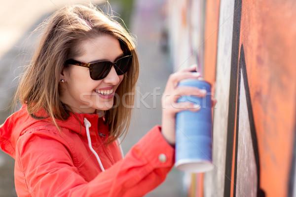 Tinilány rajz graffiti festékszóró emberek street art Stock fotó © dolgachov