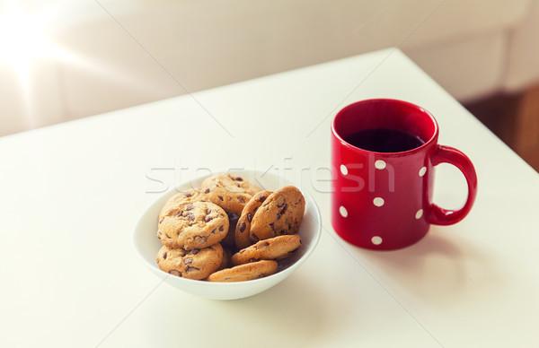 Stock fotó: Közelkép · zab · sütik · piros · teáscsésze · asztal