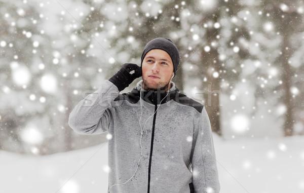 спортивных человека зима лес фитнес Сток-фото © dolgachov