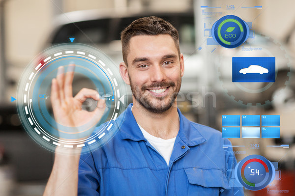auto mechanic or smith showing ok at car workshop Stock photo © dolgachov