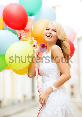 Gelukkig vrouw jurk helium lucht ballonnen Stockfoto © dolgachov