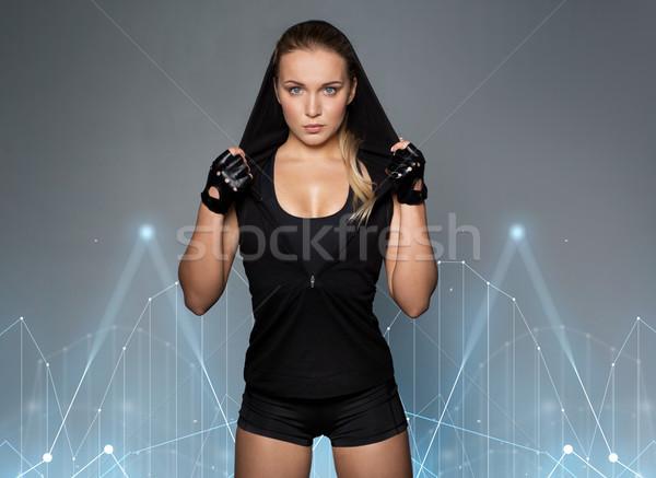 Schwarz Sportbekleidung posiert Sport Fitness Stock foto © dolgachov