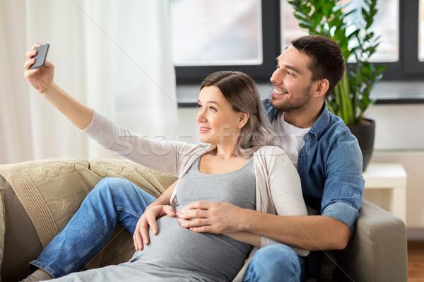 男 妊婦 ホーム 技術 妊娠 ストックフォト © dolgachov