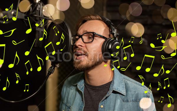 Foto stock: Hombre · auriculares · cantando · música · mostrar
