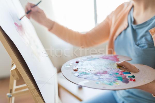 Sanatçı paletine fırçalamak boyama stüdyo sanat Stok fotoğraf © dolgachov