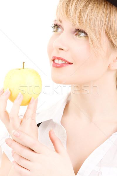 Groene appel heldere foto blond meisje Stockfoto © dolgachov