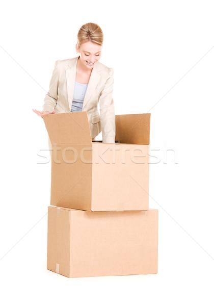 Photo stock: Femme · d'affaires · cases · photos · blanche · affaires · femme