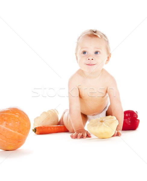 ストックフォト: 赤ちゃん · 少年 · 野菜 · 画像 · おむつ · 子