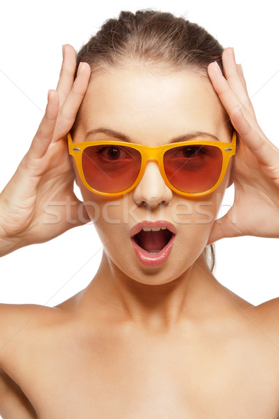 Felice urlando foto donna faccia Foto d'archivio © dolgachov
