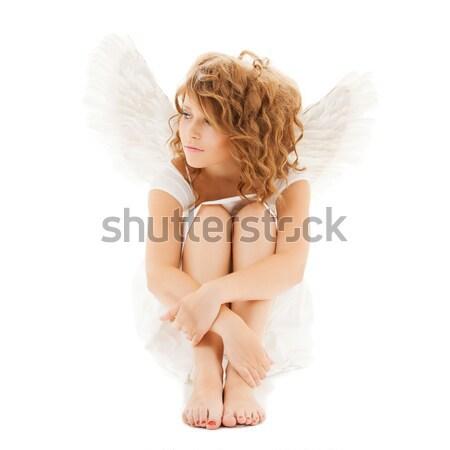Bana resim melek kız kar taneleri Stok fotoğraf © dolgachov