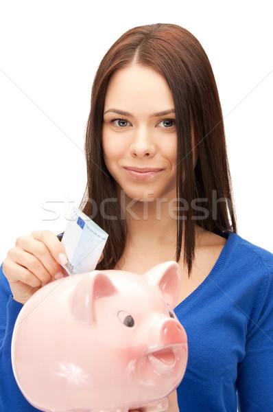 Vrouw spaarvarken geld foto business financieren Stockfoto © dolgachov