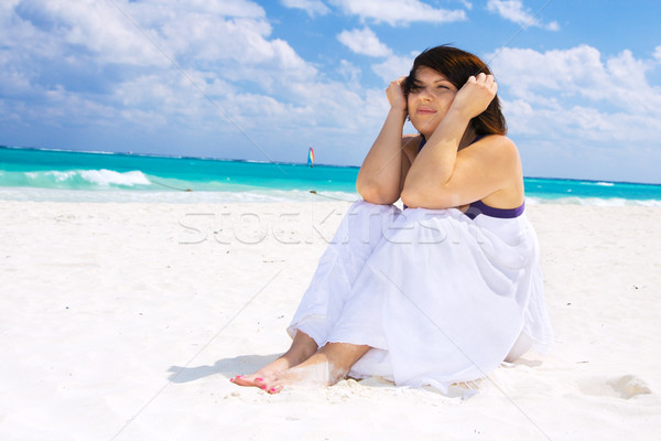 Gelukkig vrouw witte hemel water Blauw Stockfoto © dolgachov