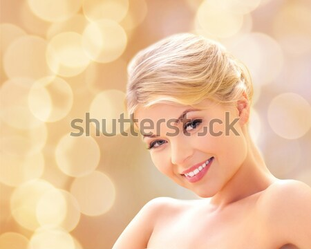 happy and smiling teenage girl with city lights Stock photo © dolgachov