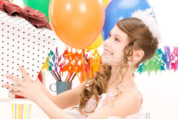 Party ragazza palloncini scatola regalo felice donna Foto d'archivio © dolgachov