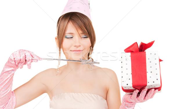 Fiesta nina varita mágica caja de regalo feliz Foto stock © dolgachov