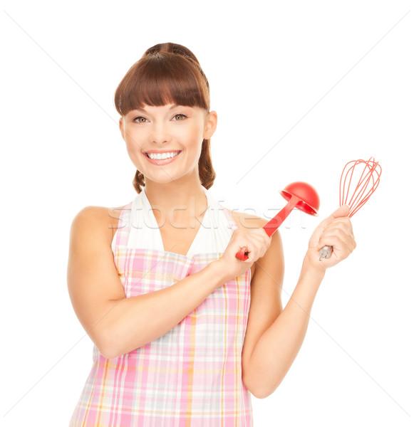 домохозяйка красный ковш фотография красивой женщину Сток-фото © dolgachov