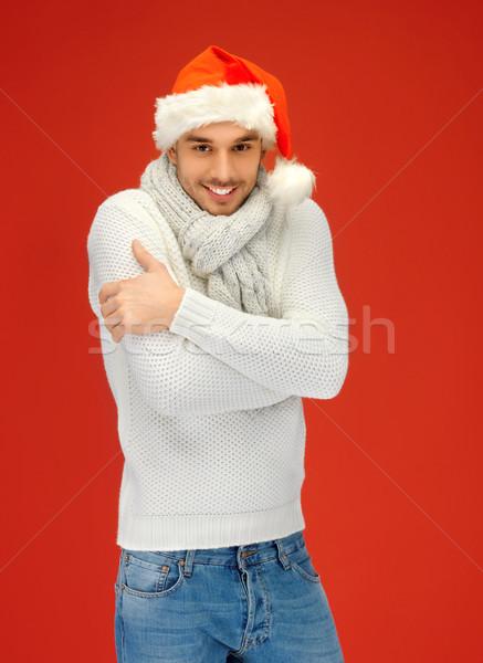 handsome man in christmas hat Stock photo © dolgachov