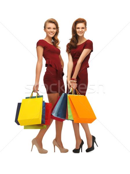 Stockfoto: Twee · tienermeisjes · foto · Rood · jurken