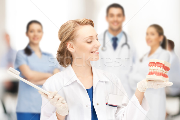 doctor with big jaws and toothbrush Stock photo © dolgachov