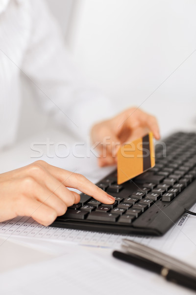businesswoman with laptop using credit card Stock photo © dolgachov