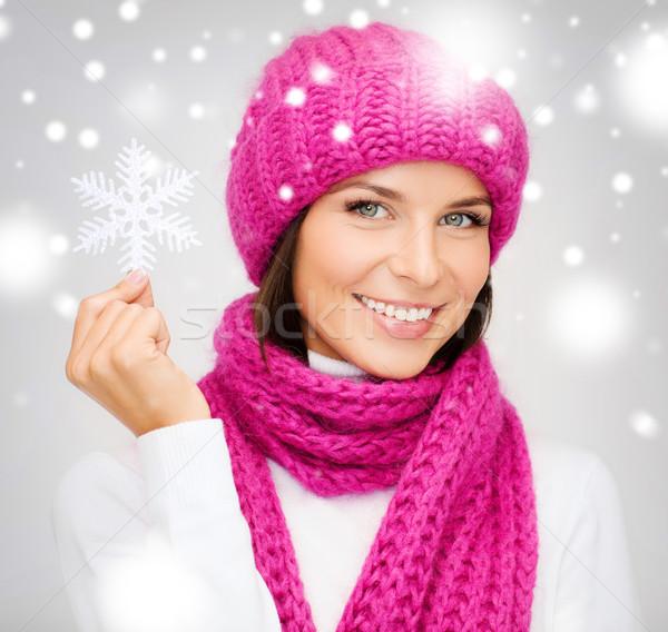女性 帽子 マフラー ビッグ スノーフレーク 冬 ストックフォト © dolgachov