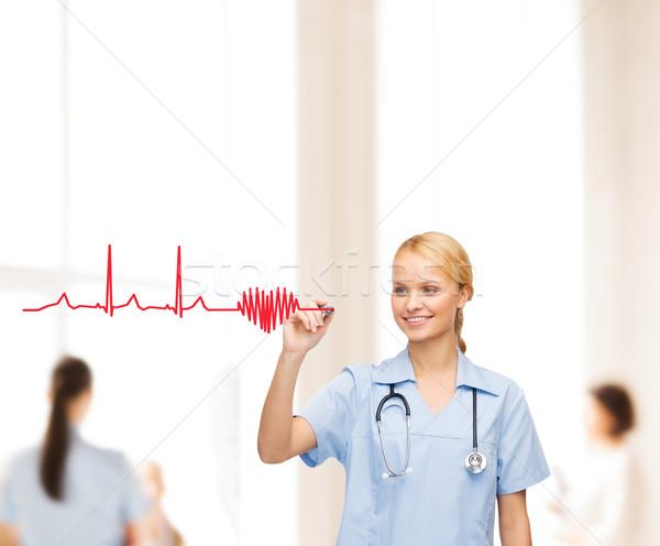 笑みを浮かべて 医師 看護 図面 心電図 医療 ストックフォト © dolgachov