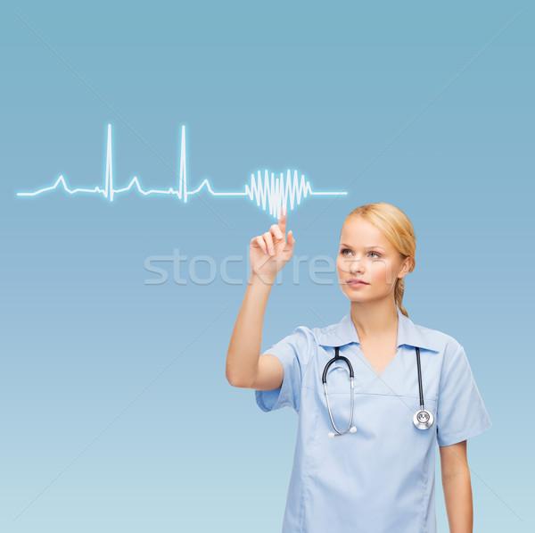 Glimlachend arts verpleegkundige wijzend kardiogram gezondheidszorg Stockfoto © dolgachov