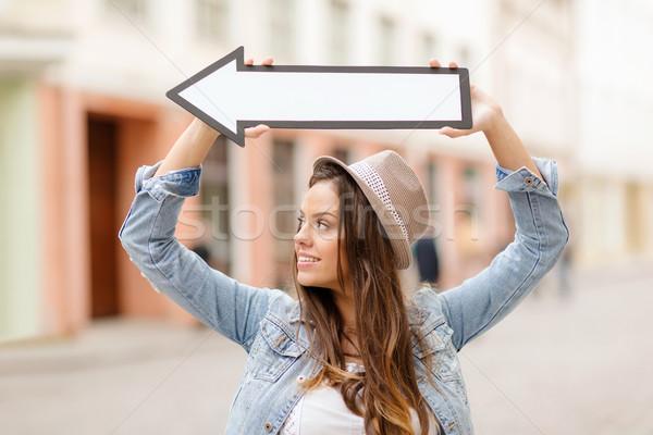 Сток-фото: девушки · направлении · стрелка · город · праздников