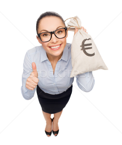 Boldog üzletasszony tart pénz táska Euro Stock fotó © dolgachov