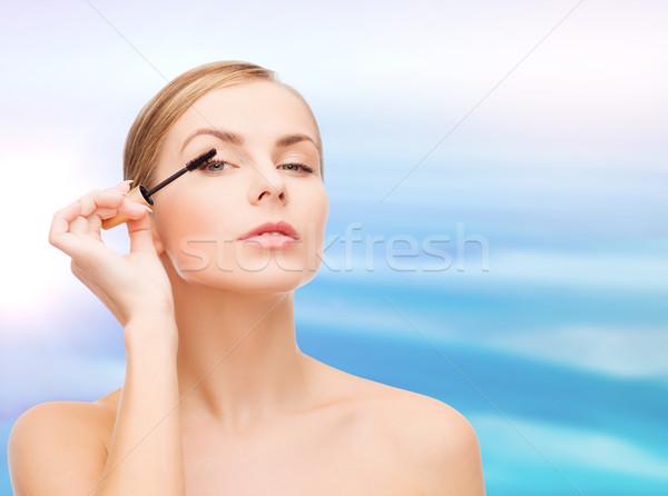 Bela mulher rímel cosméticos saúde beleza oceano Foto stock © dolgachov